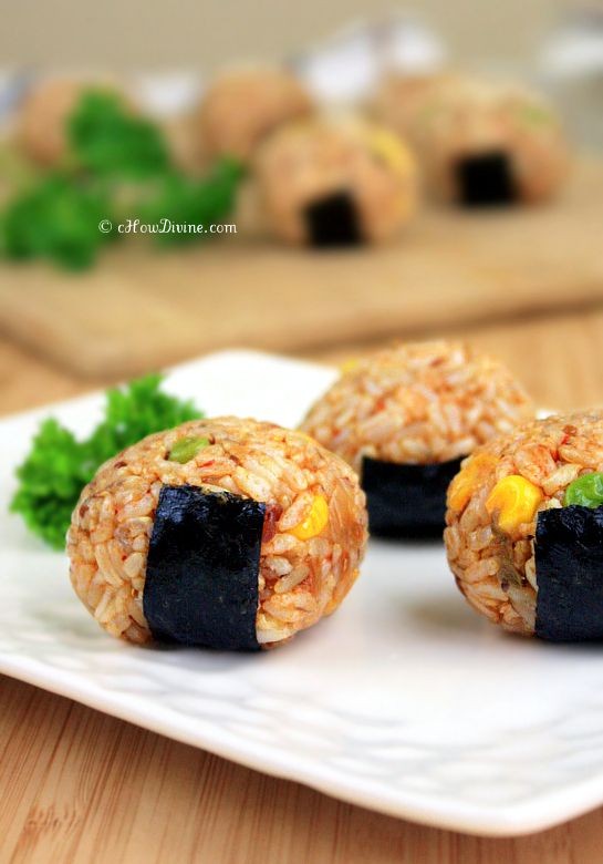 Kimchi Rice Balls {Perfect as fun appetizers or as a casual meal} | cHowDivine.com @Gomo | cHowDivine