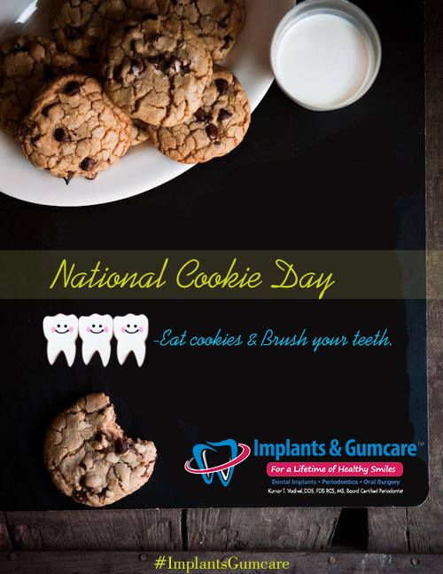 Cookies are made of fine flour mixed with high levels of sugar and fat which forms a sticky layer on the teeth thus producing acids by microorganisms, which dissolves the enamel leads to a tooth decay and a untreated decay tooth leads to tooth loss.