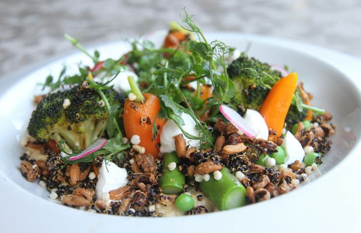 """One of the new dishes on our summer menu: The """"Vegetable Garden""""  - Chickpea purée, marinated eggplant, pressed yogurt, spring vegetables, puffed wild grains, fresh herbs. #Vegetarian ad can be made #vegan without the yogurt"""
