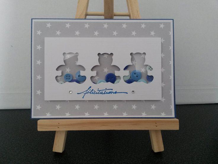 carte de félicitations naissance ou baptême avec trois oursons