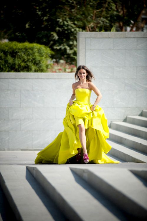 shot by tommy ton ~ Mira Duma yellow neon dress