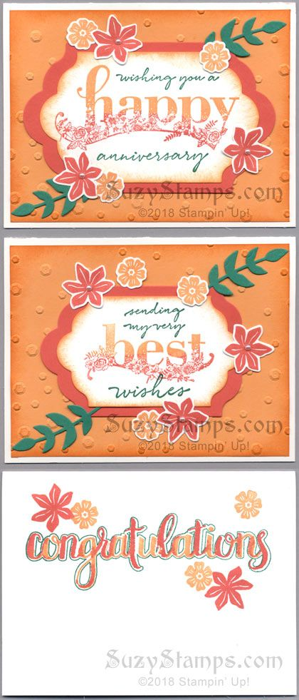 Stampin' Up! Love Themed Cards, Wedding, Anniversary - 2018-01 Class - Beautiful Bouquet, Amazing Congratulations and Happy Wishes Sale-A-Bration stamp sets, Bouquet Bunch and Lots of Labels Framelits Dies, and Scattered Sequins Dynamic Embossing Folder