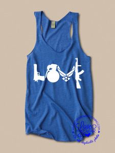 Love guns USAF wings racer back tank top : love and war clothing