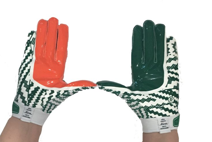 Miami Hurricanes Adizero by adidas Football Gloves - Green
