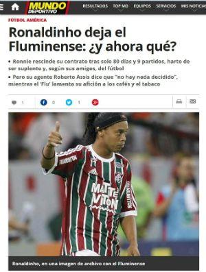 """Após rescisão de Ronaldinho Gaúcho, jornal espanhol pergunta: """"E agora?"""" #globoesporte"""