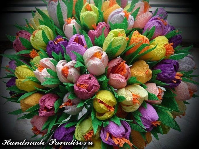 Весенние цветы из гофрированной бумаги - Handmade-Paradise