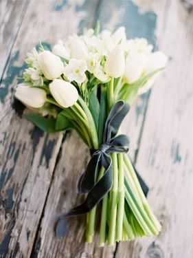 all white. love the velvet ribbon. @Keely Danielsen - maybe an idea for white bouquet only with roses or something?