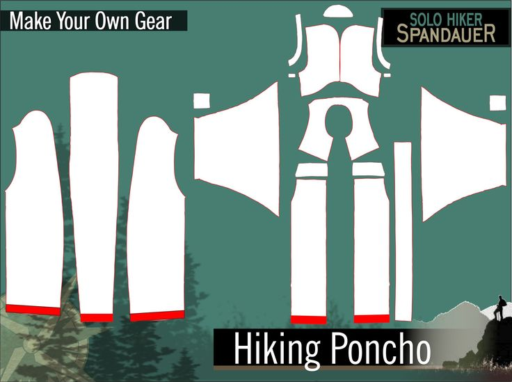 MYOG / DIY hiking pro poncho sewing pattern. Rain poncho with integrated backpack for perfect protection against bad weather. Do it yourself, it is easy! Tags: trekking, bush, mountain, rain, bad weather, backpacking, fabric, waterproof, windproof, make your own gear