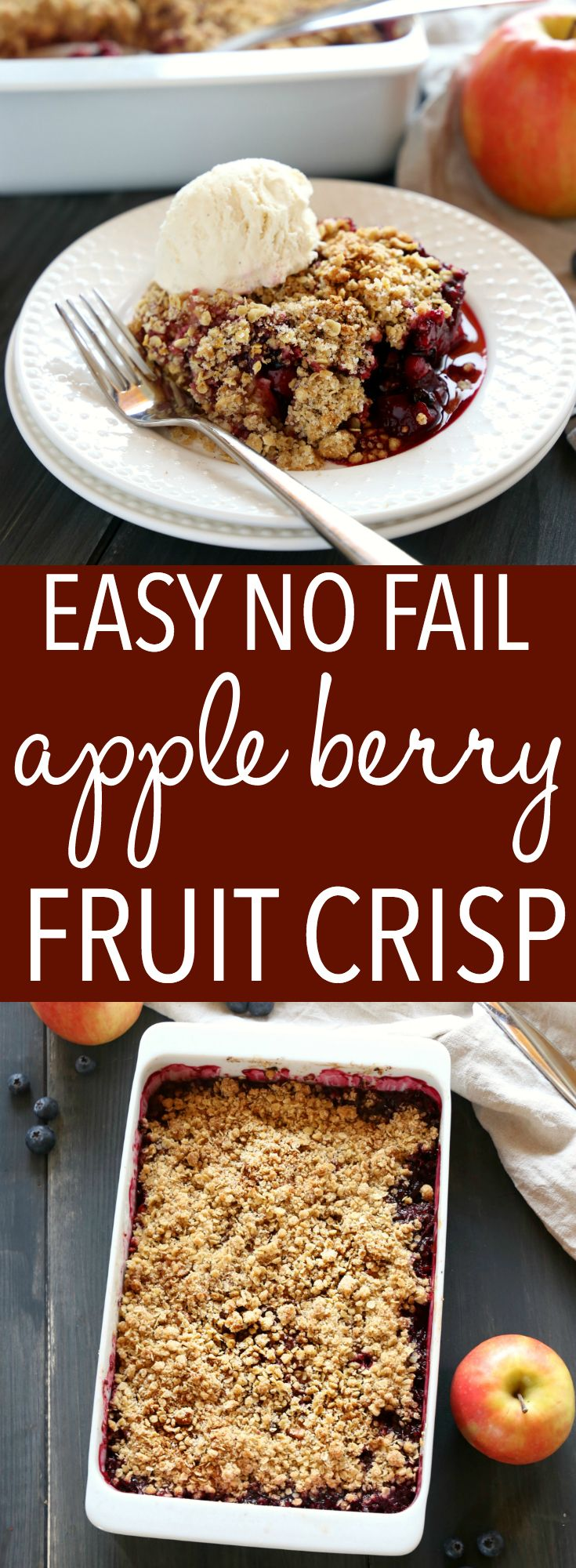 This Easy Apple Berry Fruit Crisp is the perfect easy dessert for beginning bakers! Just a few simple ingredients stand between you and this delicious, healthier dessert! Make it with fresh or frozen fruit, and gluten-free! Recipe from thebusybaker.ca! #howtomakeapplecrisp #easyapplecrisp #fruitcrisp #healthydessert via @busybakerblog