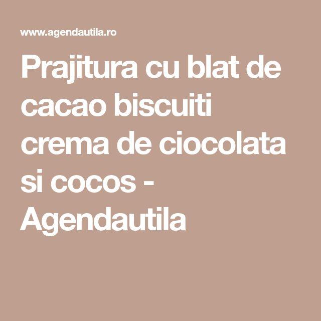 Prajitura cu blat de cacao biscuiti crema de ciocolata si cocos - Agendautila