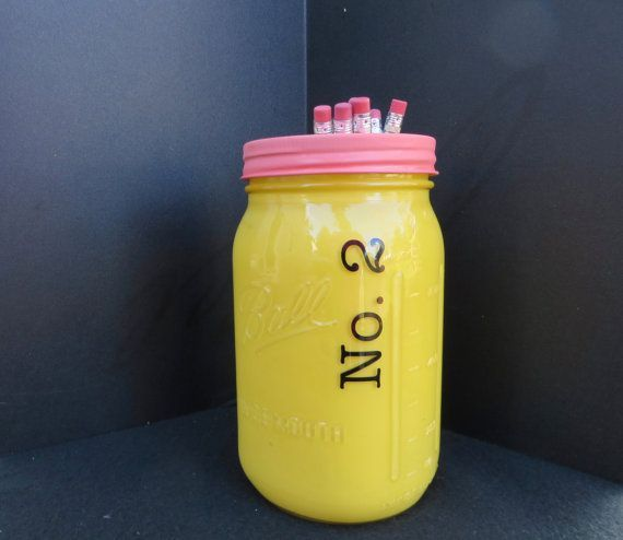 (aff. link) Cute mason jar pencil cup. Perfect for holding extra sharp pencils.