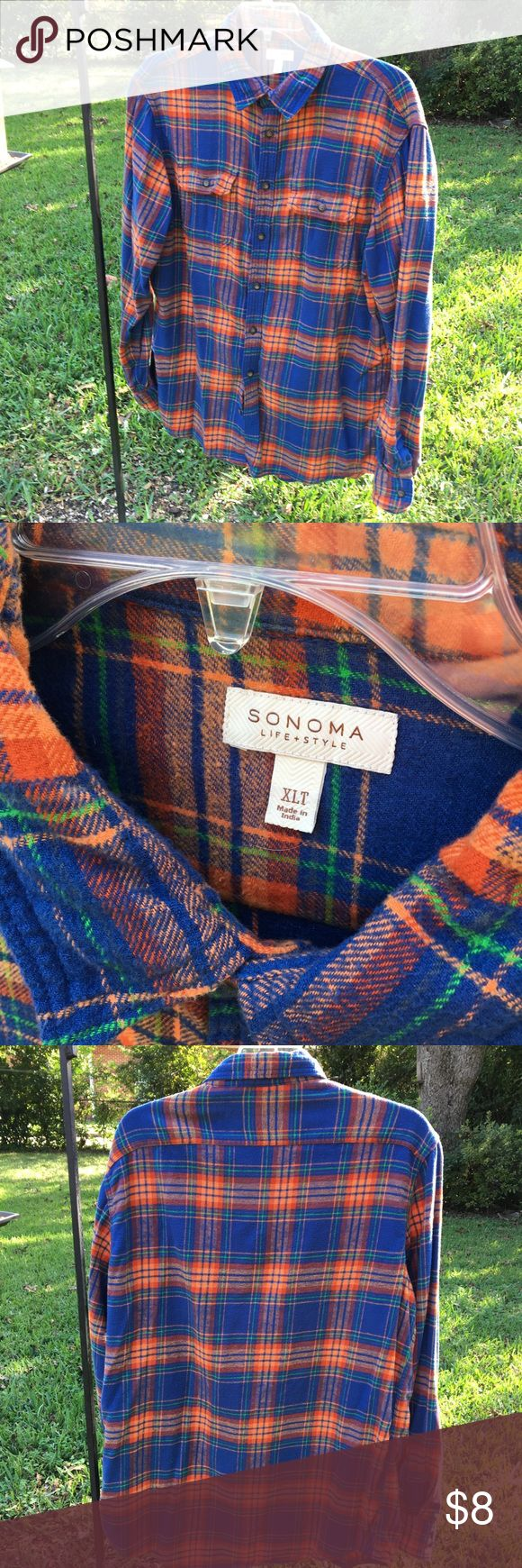 XLT Sonoma Flannel Men's Shirt EUC Sonoma Flannel Shirt. Very soft fabric with a beautiful orange and blue plaid. Looks brand new!!! Only worn 2 times. Size is XLT. Sonoma Shirts Casual Button Down Shirts