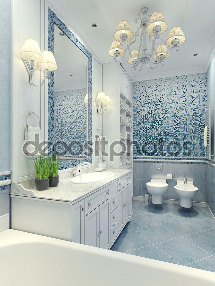 Ve světlé koupelně klasický styl. Luxusní lustr, zrcadlo, bílý nábytek a vestavěné umyvadlo, WC a bidet. Mramorové dlažby, mozaika na stěny světle modré a tmavě modrá kontrast barev. 3D vykreslování