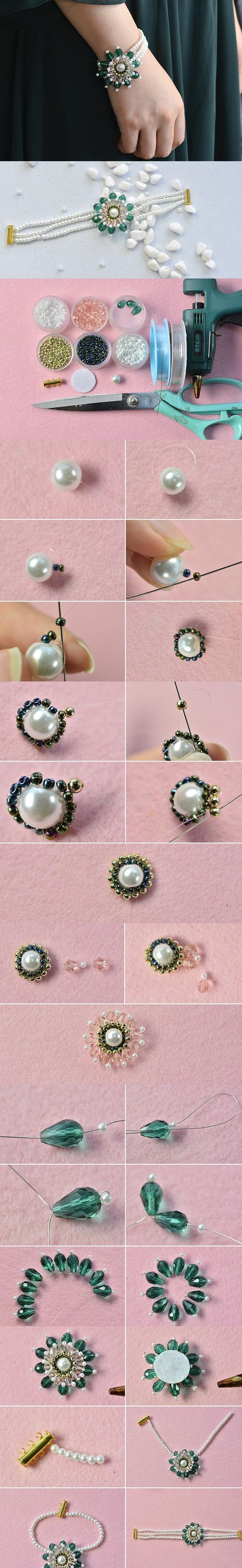 Handmade Three-strand Green Flower Bracelet with Pearl Beads #tutorial #bracelet #pandahall