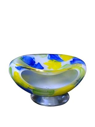 76% OFF Meridian Glass Hand-Blown Watercolor Bowl Aqua/Yellow/Lime