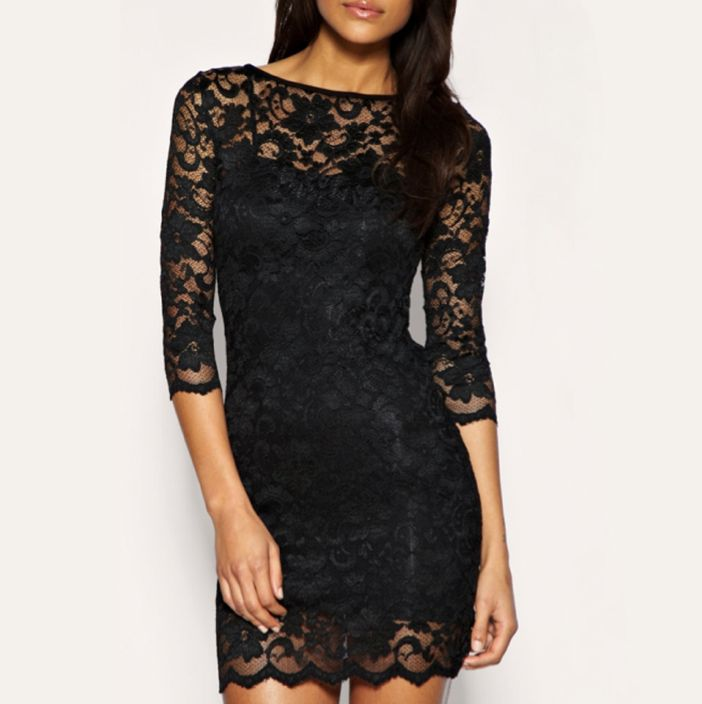 It has been crafted from a stretch lace with underlay.A slash neckline, scalloped trim and 3/4 cropped sleeves that add elegance to your neck, shoulders and wrists.You can wear with pumps or stilettos, and add a blazer or a pea coat if the weather gets crazy.The dress has been cut with a body-conscious fit.  Material: Polyester and spandex
