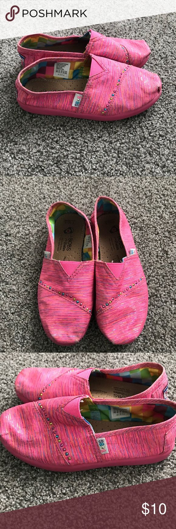 Girls lil Bobs from Skechers size 10.5 Girls lil Bobs from Skechers slip on shoes size 10.5 bright pink with colored glitter and jewels! Smoke free home! bobs from Skechers Shoes Sandals & Flip Flops