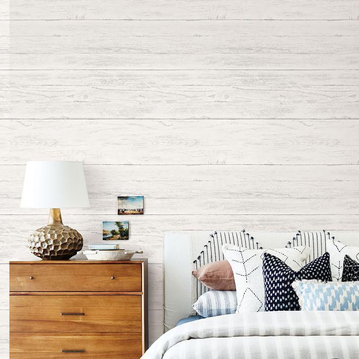 White Wood Grain Peel Stick Wallpaper West Elm White Wood Wallpaper Wood Accent Wall Bedroom Shiplap Accent Wall