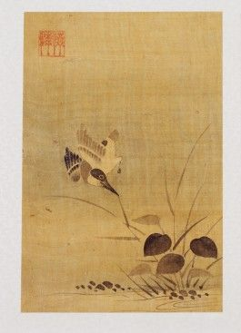 국립중앙박물관,김식金埴(생몰년 모름)의 그림으로 조선 중기가 되면 문인화가들은 사계절 산수와 같은 사계절의 풍경에 새를 등장시킨 사계절 영모도를 많이 그렸다.