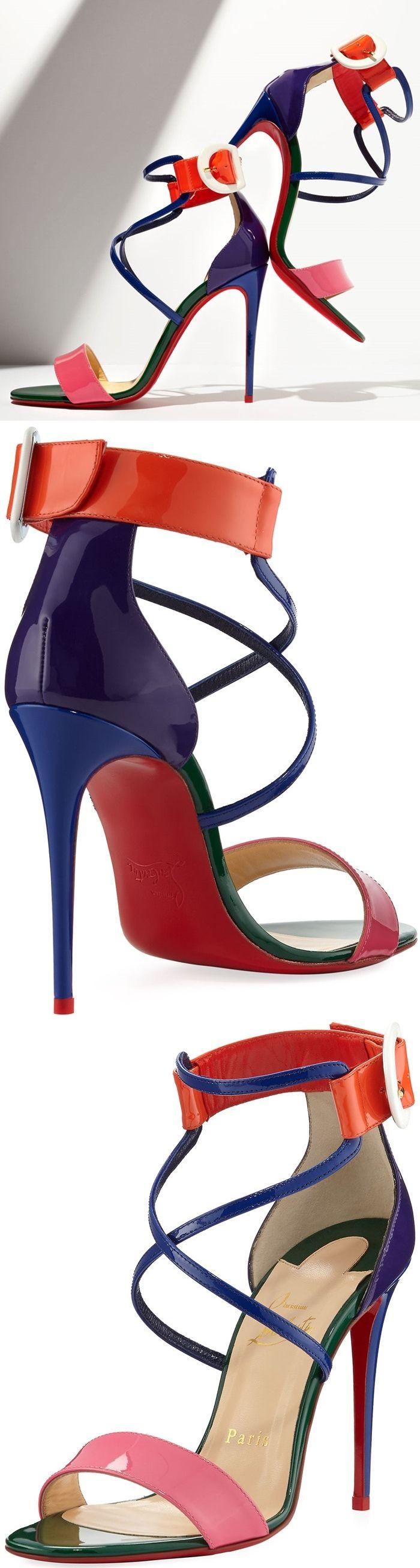 Christian Louboutin 'Choca' Colorblock Red Sole Sandals www.ScarlettAvery.com