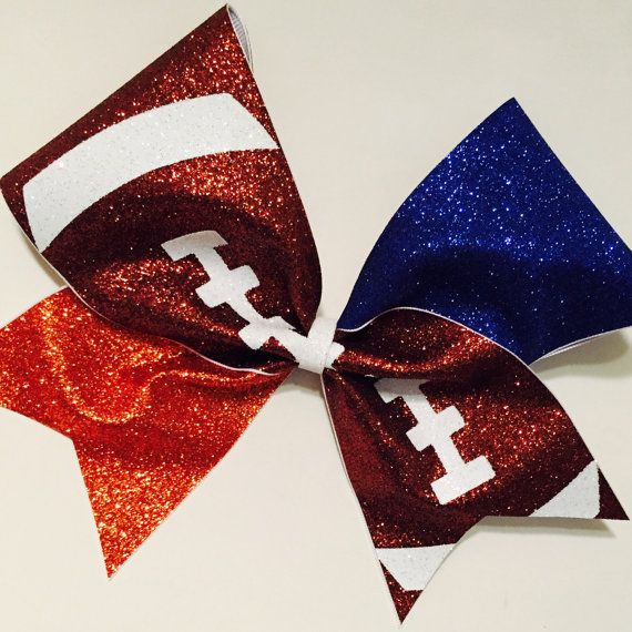3in. Glitter Football Cheer Bow  choose your teams by BowsByTeri