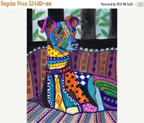 50% OFF Storewide- Greyhound Italian Greyhound art Art Print Poster by Heather Galler