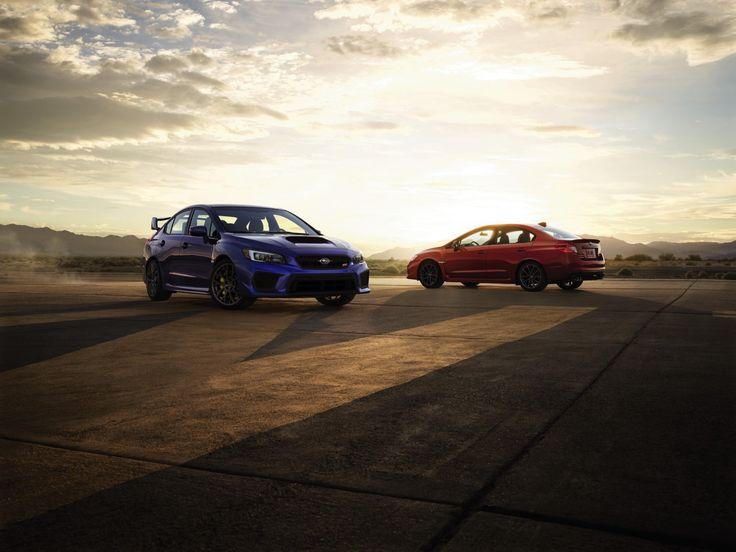 2018 Subaru STI (blue) and WRX (red)