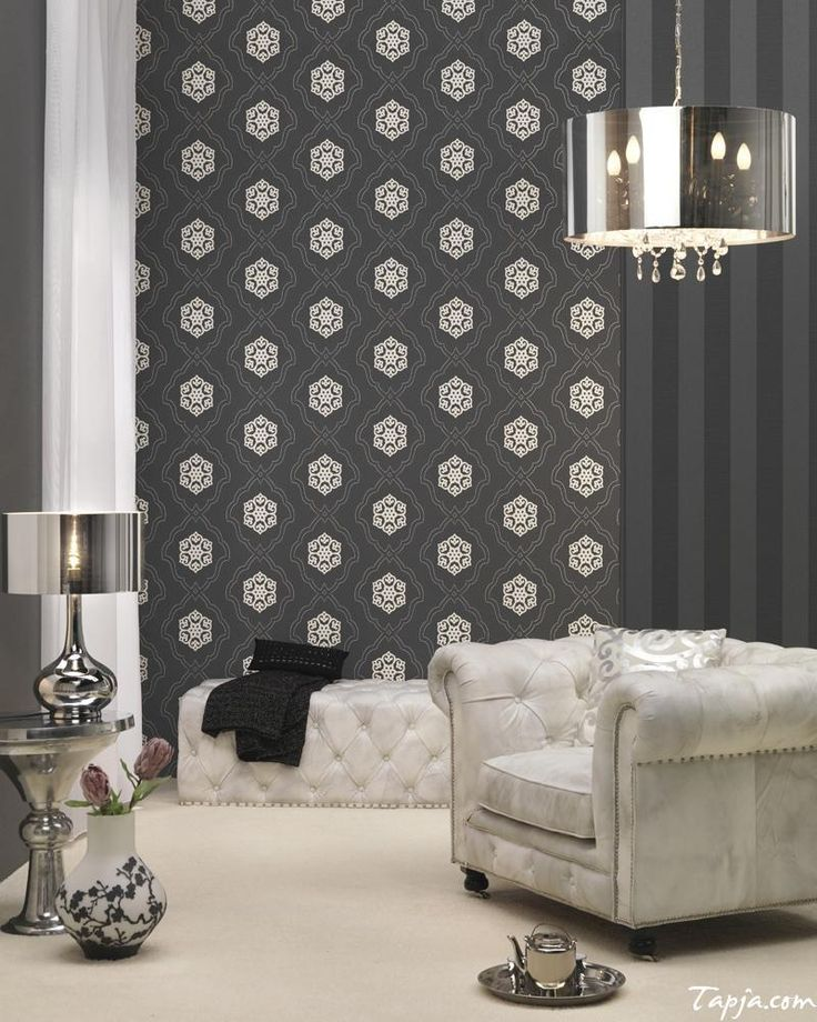 Classy Living Room Interior Decorating With Black Wallpaper As Well Silver Round Pendant Lamp Above White Sofa And Elegant Lamps Desk In The Nearby And White Curtain 5 steps of decorating interior with wallpaper Interior Design, Home decoration