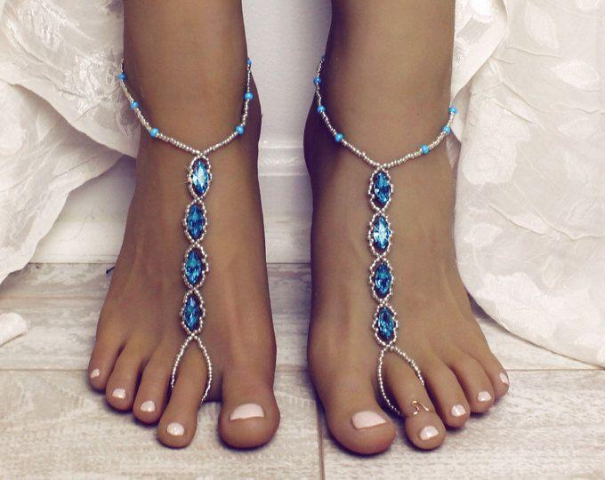 Qualcosa di blu strass a piedi nudi sandali piede gioielli sposa Sandali spiaggia matrimonio Aqua cavigliera nozze gioielli da sposa per il perizoma piedi sandali
