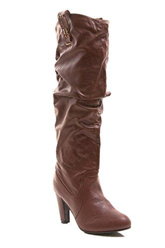 Gomax Womens Shoe Afina 07 Slouch Pull on Mid Calf Leather Boots 7 Brown * You can get additional details at the image link.