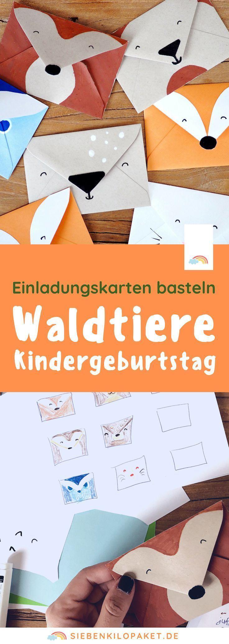 Einladungskarte Kindergeburtstag basteln: Waldtiere
