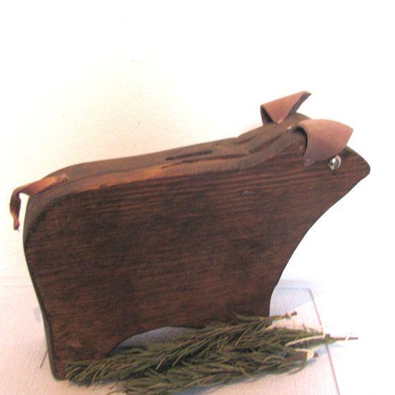 Primitive Country Pig / Wood Folk Art Piggy Bank / by DianesCloset, $35.00