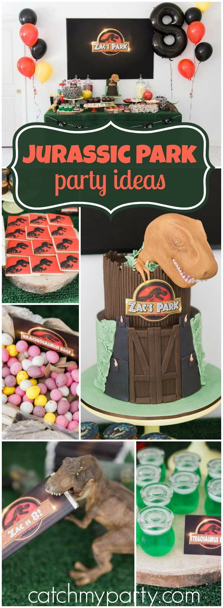 This Jurassic Park party includes a T-Rex piñata and a movie night! See more party ideas at Catchmyparty.com!