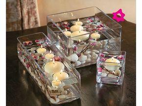 Centros de mesa para boda cuadrados y cilíndricos | El blog de María José