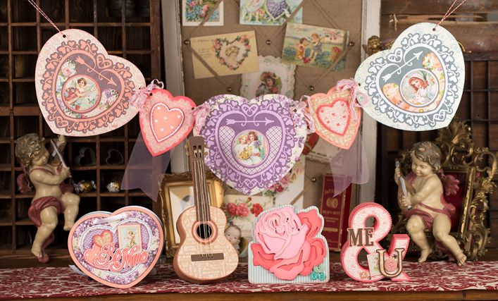 Look at the beauty of this kit!  So much love went into this one, wow, Mary!  VINTAGE VALENTINES SVG KIT is amazing, so artistic!  A 3D Guitar Box, omg!  An Ampersand to go with the 3D Numbers and Letters Kits, yes!  A lacey Banner, simply divine!  An adorable Heart-shaped Mini Album and a stunning Rose Card, striking!  This is a winner, guys!