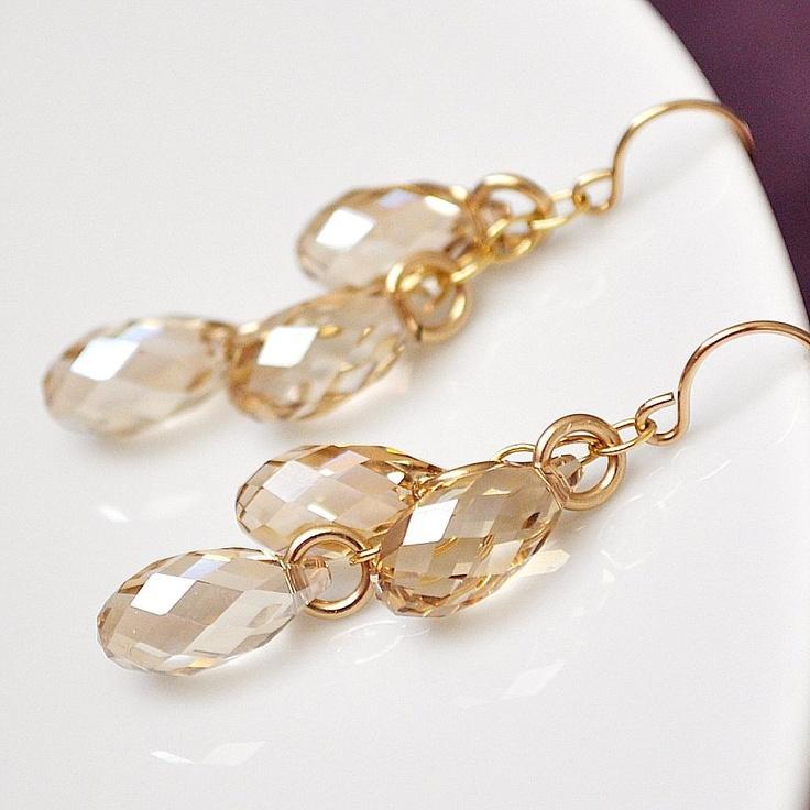 Gold Crystal Teardrop Earrings. Champagne Drop Earrings, Bridal Earrings. Wedding Jewellery for the Fall Autumn Bride or Bridesmaids. $52.00, via Etsy.