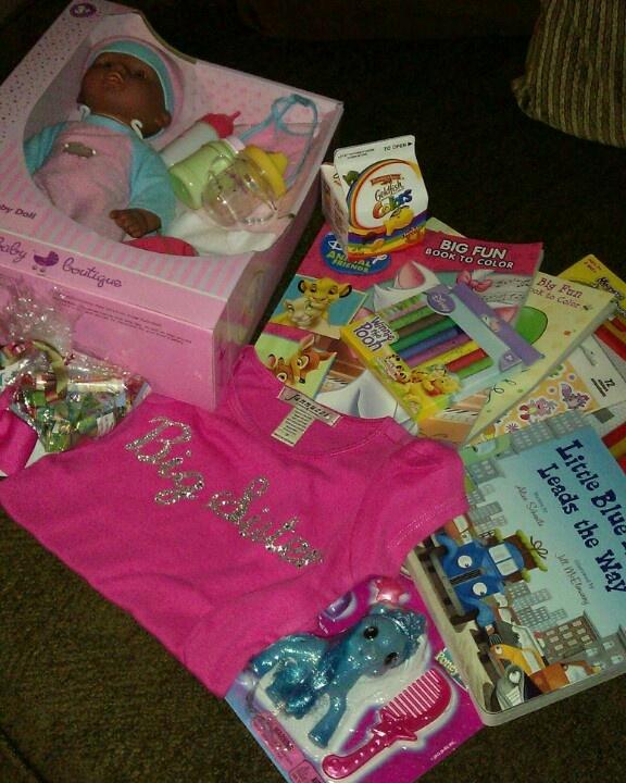 Toddler Big Sister Kit - Baby, book, coloring book, crayons, goldfish snack, etc.