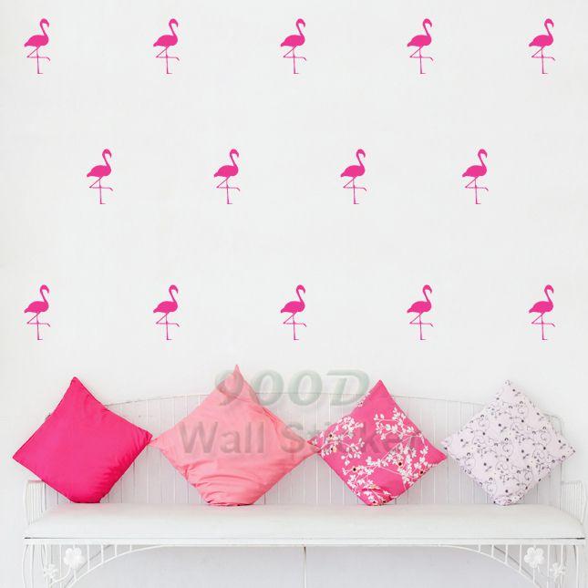 Barato Dos desenhos animados Flamingo adesivos de parede decalques, Removível decoração do quarto da criança decorações de parede arte frete grátis DQ621 17, Compro Qualidade Papéis de parede diretamente de fornecedores da China:                                 Forma simples adesivos de parede