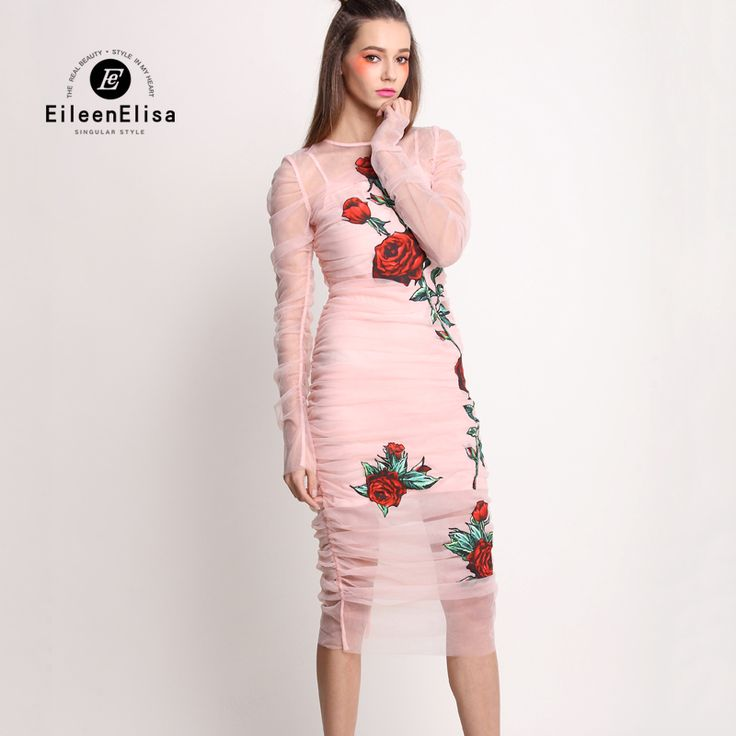 Women Pink Bodycon Dress 2017 Midi Dress Long Sleeve Spring Floral Embroidered Dress Women Sexy Party Dresses Woman 2017 Luxury
