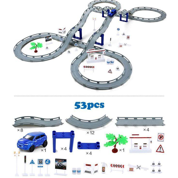 DIY Electric Train Track Car Racing Track Toy,Multi-layer Spiral Track Roller Coaster Railway Transportation Building Slot Sets