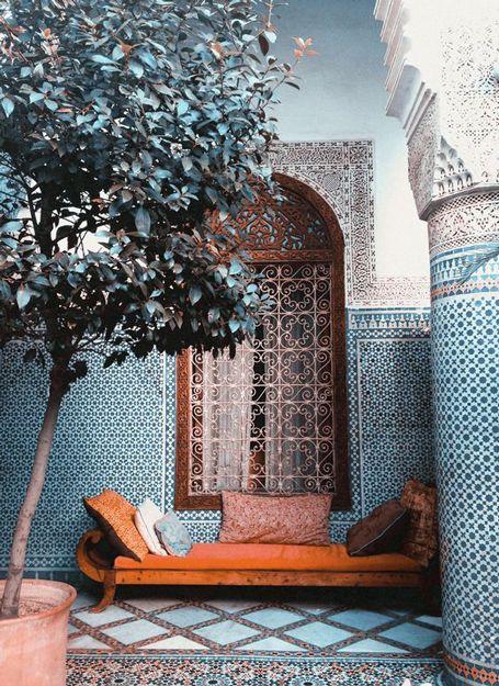 morocco style tiled interior with pantone potter's clay bench, copper orange, burnt orange