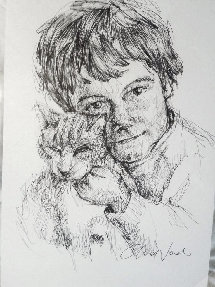 Daniel and Birro - Black pen portrait by Chiara Nardo