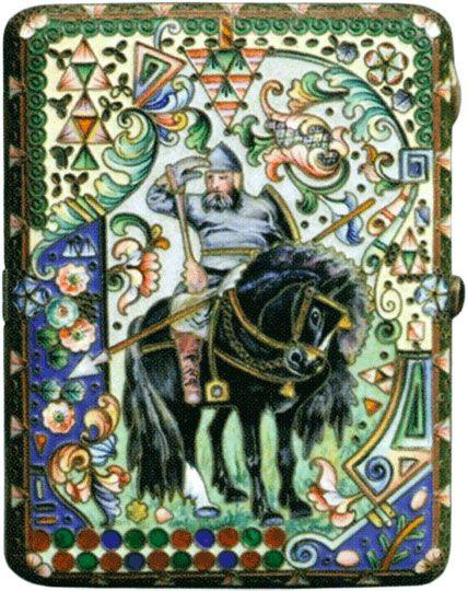 Портсигар в стиле модерн «Богатырь», украшенный живописными полихромными эмалями Конец XIX - начало XX веков
