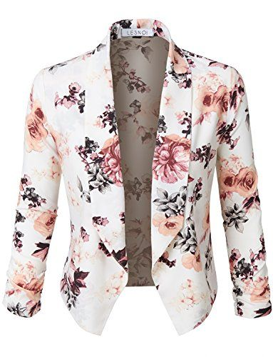 Sharpen your wardrobe with this floral 3/4 sleeve open front blazer. A softly draped open-front silhouette softens the look while the asymmetrical hem adds a modern touch to this blazer. This blazer is perfect for either professional environment or for casual wear. <p><b>Sizing Info</b></p><ul><li>S- Bust: 35.0in(88.9cm) Shoulder: 15.0in(38.1cm) Sleeve: 20.0in(50.8cm) Length: 22.5in(57.2cm)</li><li>M- Bust: 37.0in(94cm) Shoulder: 16.0in(40.6cm) Sleeve: 20.5in(52.1cm) Length…