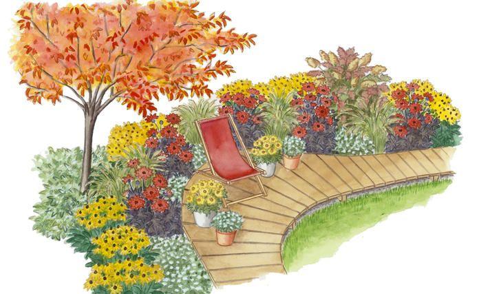 Ideen Zum Nachpflanzen Dahlienbeet Am Sitzplatz In 2020 Garten Garten Ideen Pflanzplan
