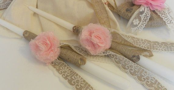 Handmade vintage-look baptism candles (15 inch candles). Made with natural fabrics and fabric flowers. This listing price is for the pair of candles.