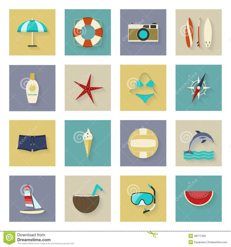 Beach-themed travel icons. Neat!