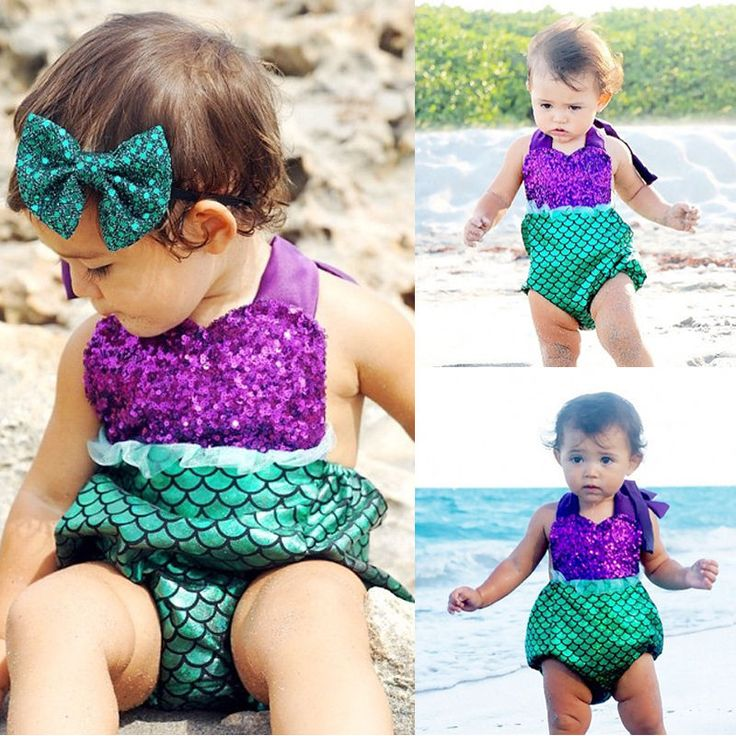 Toddler Baby Girls Romper Jumpsuit Lace Mermaid Outfits Sunsuit Swimwear Costume | eBay