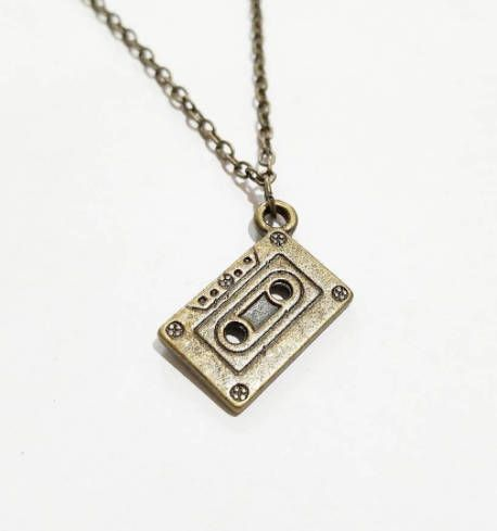 Antique Bronze Cassette Tape Charm Necklace Vintage Music Chain 90s Necklace Pendant Necklace Charm Necklace Simple Hobo Bohemian Necklace
