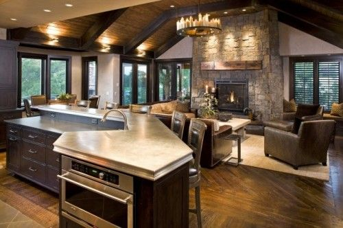 family roomOpen Concept, Stones Fireplaces, Living Rooms, Open Spaces, Open Floors Plans, Dreams House, Family Rooms, Families Room, Open Kitchens